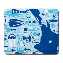 New Zealand Fish Detail Blue Sea Shark Large Mousepads by Mariart