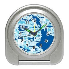 New Zealand Fish Detail Blue Sea Shark Travel Alarm Clocks by Mariart