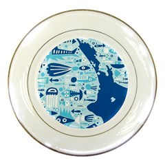 New Zealand Fish Detail Blue Sea Shark Porcelain Plates by Mariart