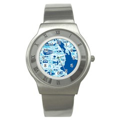 New Zealand Fish Detail Blue Sea Shark Stainless Steel Watch by Mariart
