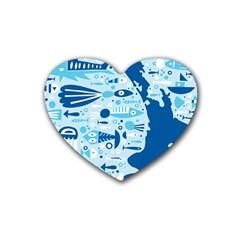 New Zealand Fish Detail Blue Sea Shark Rubber Coaster (heart)  by Mariart