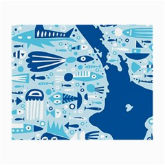 New Zealand Fish Detail Blue Sea Shark Small Glasses Cloth (2 Side) by Mariart