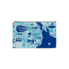 New Zealand Fish Detail Blue Sea Shark Cosmetic Bag (small)  by Mariart