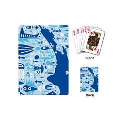 New Zealand Fish Detail Blue Sea Shark Playing Cards (mini)  by Mariart
