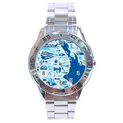 New Zealand Fish Detail Blue Sea Shark Stainless Steel Analogue Watch by Mariart