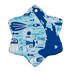 New Zealand Fish Detail Blue Sea Shark Snowflake Ornament (two Sides) by Mariart