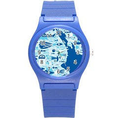 New Zealand Fish Detail Blue Sea Shark Round Plastic Sport Watch (s) by Mariart