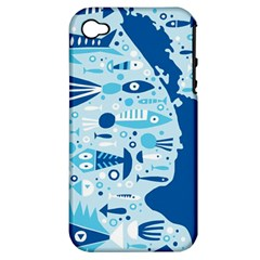 New Zealand Fish Detail Blue Sea Shark Apple Iphone 4/4s Hardshell Case (pc+silicone) by Mariart