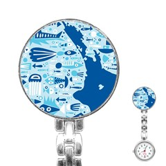 New Zealand Fish Detail Blue Sea Shark Stainless Steel Nurses Watch by Mariart