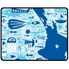 New Zealand Fish Detail Blue Sea Shark Double Sided Fleece Blanket (medium)  by Mariart