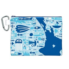 New Zealand Fish Detail Blue Sea Shark Canvas Cosmetic Bag (xl) by Mariart