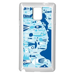 New Zealand Fish Detail Blue Sea Shark Samsung Galaxy Note 4 Case (white) by Mariart
