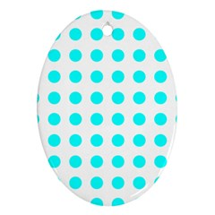 Polka Dot Blue White Ornament (oval)