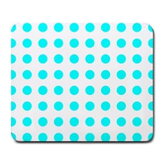 Polka Dot Blue White Large Mousepads by Mariart