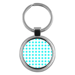 Polka Dot Blue White Key Chains (round)