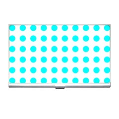 Polka Dot Blue White Business Card Holders by Mariart