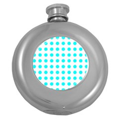Polka Dot Blue White Round Hip Flask (5 Oz) by Mariart