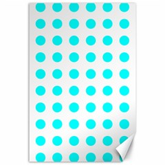 Polka Dot Blue White Canvas 24  X 36  by Mariart