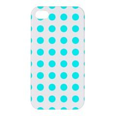 Polka Dot Blue White Apple Iphone 4/4s Premium Hardshell Case by Mariart