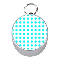 Polka Dot Blue White Mini Silver Compasses by Mariart