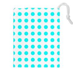 Polka Dot Blue White Drawstring Pouches (xxl) by Mariart
