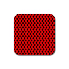 Polka Dot Black Red Hole Backgrounds Rubber Coaster (square)  by Mariart