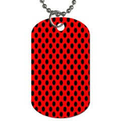 Polka Dot Black Red Hole Backgrounds Dog Tag (one Side) by Mariart