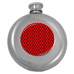Polka Dot Black Red Hole Backgrounds Round Hip Flask (5 Oz) by Mariart