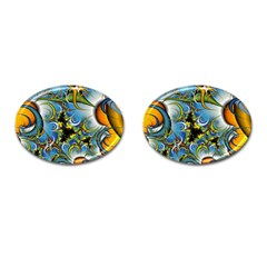High Detailed Fractal Image Background With Abstract Streak Shape Cufflinks (oval) by Simbadda