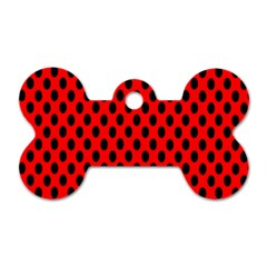 Polka Dot Black Red Hole Backgrounds Dog Tag Bone (one Side) by Mariart