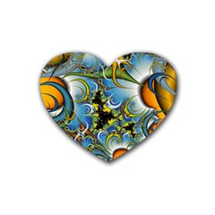 High Detailed Fractal Image Background With Abstract Streak Shape Rubber Coaster (heart)  by Simbadda