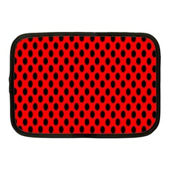 Polka Dot Black Red Hole Backgrounds Netbook Case (medium)  by Mariart