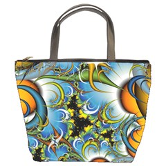 High Detailed Fractal Image Background With Abstract Streak Shape Bucket Bags by Simbadda