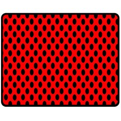 Polka Dot Black Red Hole Backgrounds Fleece Blanket (medium)  by Mariart