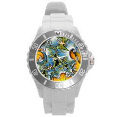 High Detailed Fractal Image Background With Abstract Streak Shape Round Plastic Sport Watch (l) by Simbadda