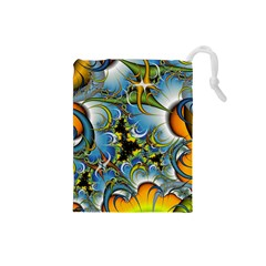 High Detailed Fractal Image Background With Abstract Streak Shape Drawstring Pouches (small)  by Simbadda
