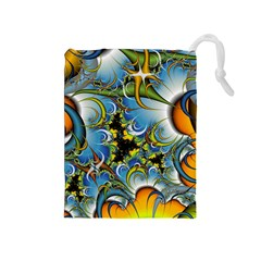 High Detailed Fractal Image Background With Abstract Streak Shape Drawstring Pouches (medium)  by Simbadda