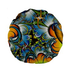 High Detailed Fractal Image Background With Abstract Streak Shape Standard 15  Premium Flano Round Cushions by Simbadda