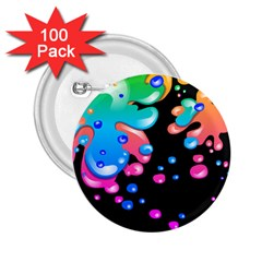 Neon Paint Splatter Background Club 2 25  Buttons (100 Pack)  by Mariart