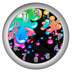 Neon Paint Splatter Background Club Wall Clocks (silver)  by Mariart