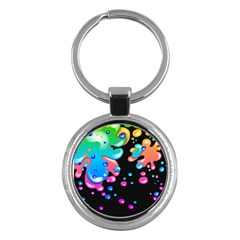 Neon Paint Splatter Background Club Key Chains (round)  by Mariart
