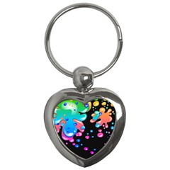 Neon Paint Splatter Background Club Key Chains (heart)  by Mariart