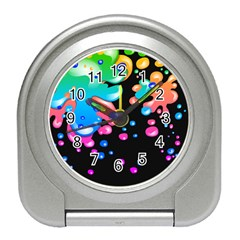 Neon Paint Splatter Background Club Travel Alarm Clocks by Mariart