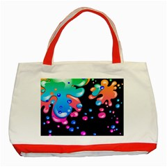 Neon Paint Splatter Background Club Classic Tote Bag (red) by Mariart