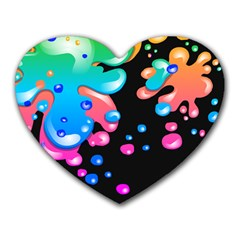 Neon Paint Splatter Background Club Heart Mousepads by Mariart