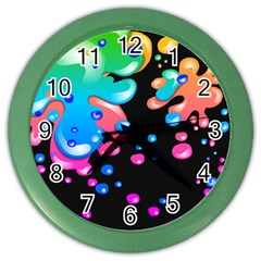 Neon Paint Splatter Background Club Color Wall Clocks by Mariart
