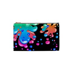 Neon Paint Splatter Background Club Cosmetic Bag (small)  by Mariart