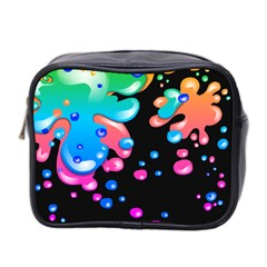 Neon Paint Splatter Background Club Mini Toiletries Bag 2 Side by Mariart