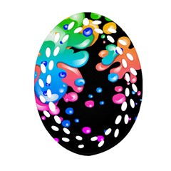 Neon Paint Splatter Background Club Oval Filigree Ornament (two Sides) by Mariart
