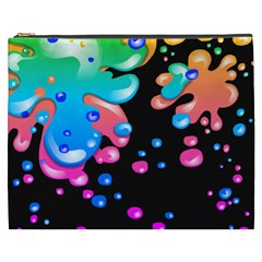 Neon Paint Splatter Background Club Cosmetic Bag (xxxl)  by Mariart